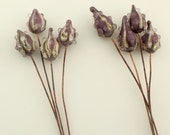 Reserved, Lampwork Glass Bead Head Pins Headpin Purple Rustic Pod on Antique Copper Wire