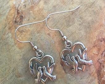 Dove heart or leaf charm earring set 511
