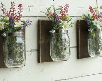 Rustic Cottage Farmhouse... Wood Wall Decor...2 0r 3 Individual  Mason Jars on Stained Boards... Candle Lantern...Made to Order