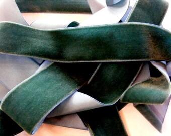 Vintage 1950's-60's Swiss Velvet Ribbon 1 7/16 inch AGED Sea Green