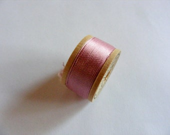 Antique 1930's-40's Corticelli Pure Silk Twist Embroidery Buttonhole Silk 10 yd Spool Rose Pink