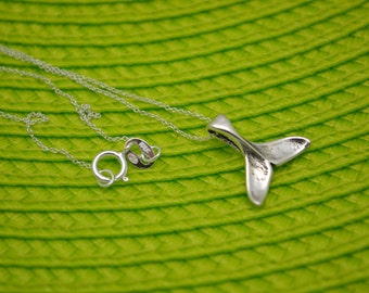 Whale Tail Sterling Necklace. Simple Sterling Whale Tail Charm on Sterling Chain. Inspired by Humpback Whale Migration in Hawaii. Handmade.