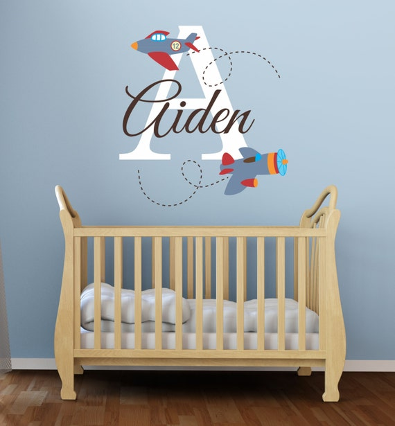 Airplane Wall Decor Nursery : Airplane name wall decal decals by decordesignsdecals
