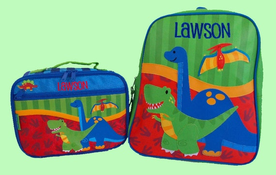 Child's Personalized Stephen Joseph GoGo NEW STYLE DINO Themed Backpack and Lunchbox School Set-Monogramming Included In Price