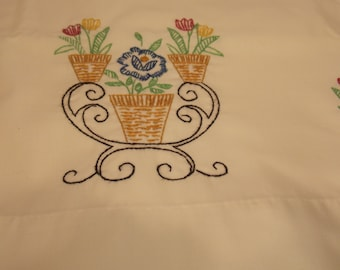 Vintage Hand Embroidered Pillowcase Vintage Floral Pillowcase Vintage Embroidered Pillowcase
