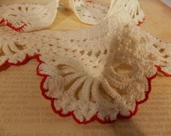 Hand Crocheted Vintage Collar, Great Embellishment Collar, Antique Vintage Collar