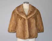 r e s e r v e d // Pastel mink fur stole / vintage 1950s capelet / ash blonde brown mink fur cape shrug wrap / wedding bridal fur