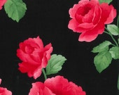 "Black and Red Rose Sateen Fabric, Gertie by Gretchen Hirsch Fabric, 43"" wide, 1 yard"