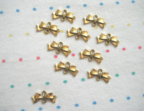 Antique Gold Bow Connector Charms, Antique Finish, Gold Bowknots, 20 mm (20)