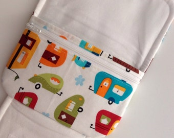 BIG fabric wallet / purse . retro caravan print with green lining .