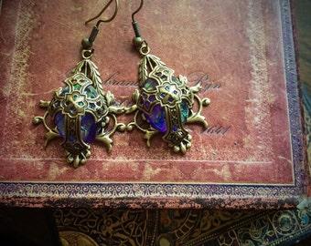 Purple Tudor Cross Earrings