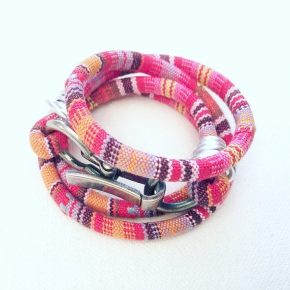Cotton Warm Tones & Silver Hardware Wrap Bracelet