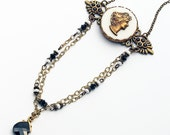 Romantic Cameo Necklace Vintage Brass Cameo Swarovski Crystals Antique Bronze Filigree Black White Neoclassical Victoriana One of a Kind