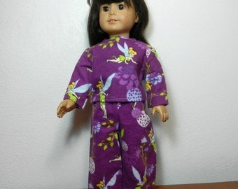 DC Purple Flannel Pajamas with Printed Tinkerbell Design  - 18 Inch Doll Clothes fits American Girl