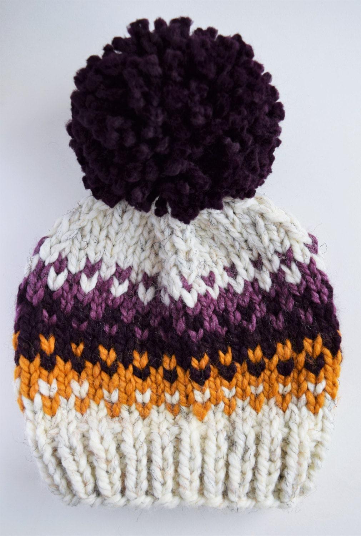 Pom Pom Wool Knitting Patterns : Hat Knitting Pattern // Fair Isle Pom Pom Hat Pattern // Hat Pattern for Kids...