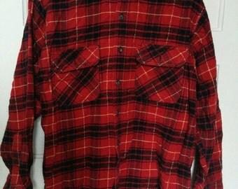SALE Rusty Metal plaid shirt print tiki xl grunge boho 80s