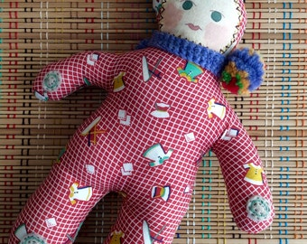 Harlequin Clown Vintage Style Dolly