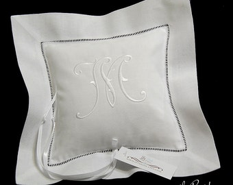 Monogrammed Ring Bearer Pillow, Irish Linen Wedding Ring Pillow, Style 5214