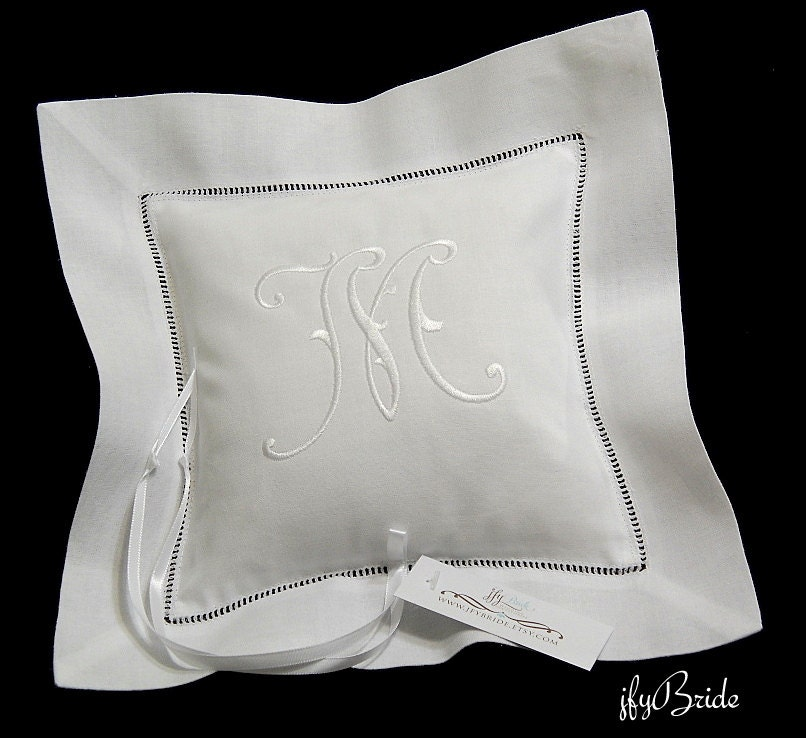 Monogram Wedding Ring Bearer Pillow: Monogrammed Ring Bearer Pillow Irish Linen Wedding Ring