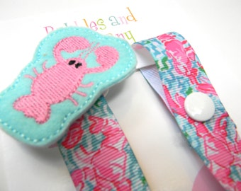 Lilly Pulitzer pacifier clip - girls pacifier clip - pacifier clip - lilly baby gift - binky clip - pacifier keeper - lilly pacifier holder