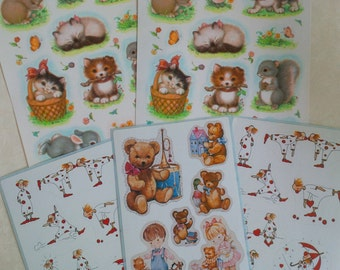 Vintage stickers - cute animals, funny clowns, kids and teddy bears - scrapbook paper craft supplies - Set of 5