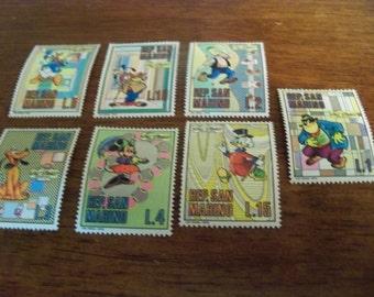 San marino vintage  walt  Disney postage  stamps 1970