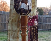 Christian Patchwork Cotton Scarf, Denim Patchwork Scarf, Handmade Scarf, Gold and Brown Scarf, Art Scarf, Inspirational Scarf, Runner