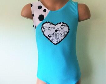 Gymnastics Dance Leotard with Dalmatian Heart Applique. Dancewear. Toddlers Girls Gymnastics Leotard. SIZES 2T - Girls 12