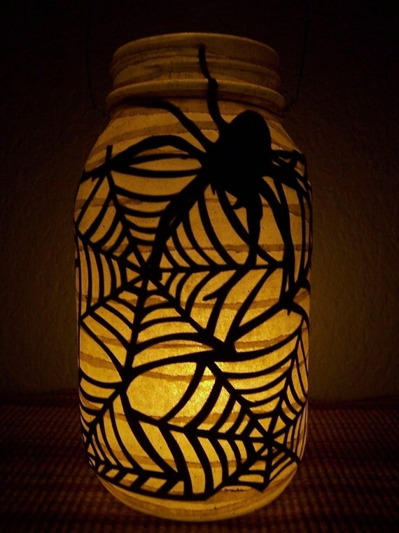 Grungy Primitive Halloween Spiderweb Lantern Luminary Light Candle Holder Fall Autumn Porch Mantel Spider Decor Gift Trick or Treat