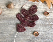 Knitting Pattern - Oak Leaves - Knit Leaf - Thanksgiving - Halloween - Knitted Leaves - PDF Download - Rustic - Leaf Coaster - Worsted