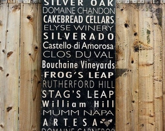 Winery Signs - Free Customiztion - 24x48 - salvaged wood - bus roll style - RuPiper Designs Original and Exclusive Design