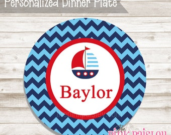 Personalized sail boat nautical name plate