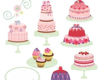 ON SALE clipart, Digital clipart,cake clipart, pink cake, celebration cakes 2 , INSTANT Download
