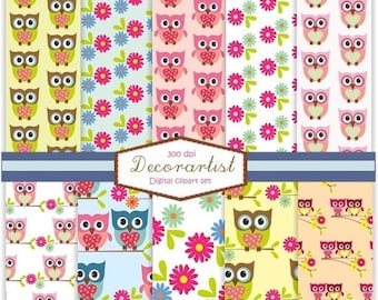 ON SALE digital paper , paper pack , Scrapbook paper. , no.36 The owls, scrapbooking, card, 10 digital sheets, instant download