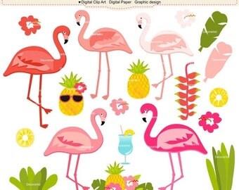 ON SALE Tropical flamingo clipart, Flamingo clipart, Pink flamingo Digital clipart, pineapple digital clipart, instant download