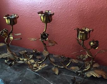 Hollywood regency gilt metal italy candle holder