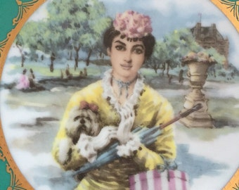JKW german porcelain plate with lady and dog