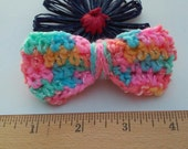 Multi Colored Bow / Bows / Crochet Bow / Applique / Craft Bows / Yarn Bows / Craft Supply /