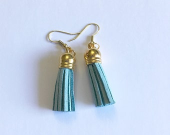Earrings- Light Blue Faux Leather Tassel Earrings