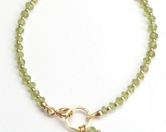 August stones bracelet. Peridot bracelet.Birthday stones bracelet.Your lucky stone bracelet.Karma bracelet,14k gold fill,Rose gold fill