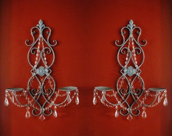 PAIR 2 Double Pillar Candle  Wall Sconces in Aged Stone Grey with Clear Crystals MADE To ORDER