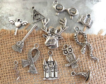 12 HARRY POTTER Theme Assorted Charms -Each One Different in Antique Silver - Deathly Hallows, Witch Hat, Broom, Lightning Bolt, Owl, Book