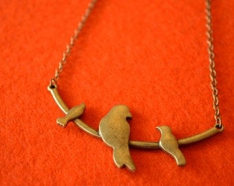 Birds on a Wire Necklace Antique Bronze Birdies Trio of Birds Bird (AB15)