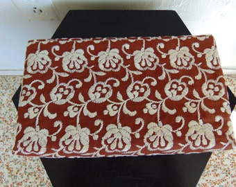 1960s EMBROIDERED floral fabric evening bag