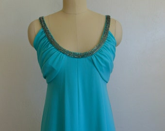 70s Aqua disco GOWN with beaded straps size small