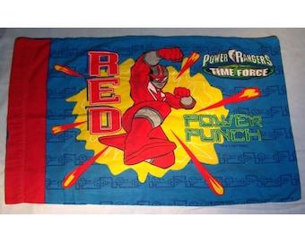 Power Rangers STANDARD Flannel  PILLOWCASE - Reclaimed Bed Linens
