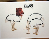 Ostrich Wears Lion Mask Embroidery Greeting Card