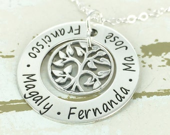 "Personalized 1"" loop necklace with tree of life charm - Mother Necklace - Engraved Jewelry - Personalized necklace - Tree of life Necklace"