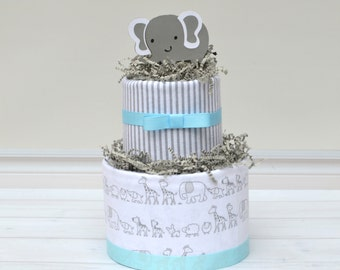 Gray and Blue Elephant Baby Shower Decoration - Elephant Diaper Cake - Safari Theme Baby Shower - Baby Boy Gift - Baby Shower Centerpiece