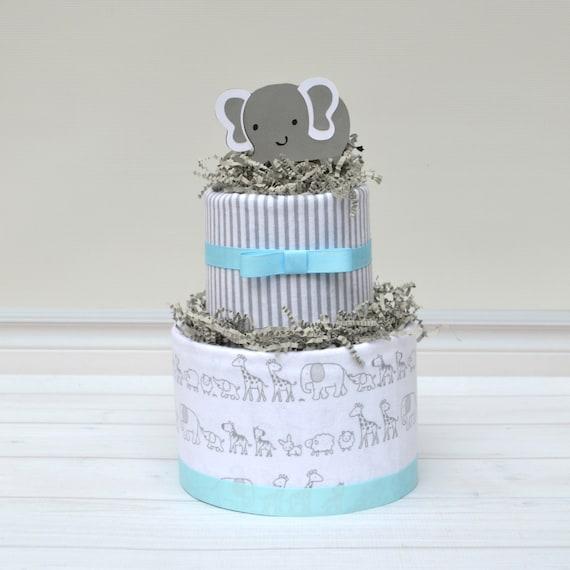 Elephant Shower Blue, Elephant Baby Shower Decoration, Boy Elephant Diaper Cake, Gray and Blue Elephants, Centerpieces for Elephant Shower